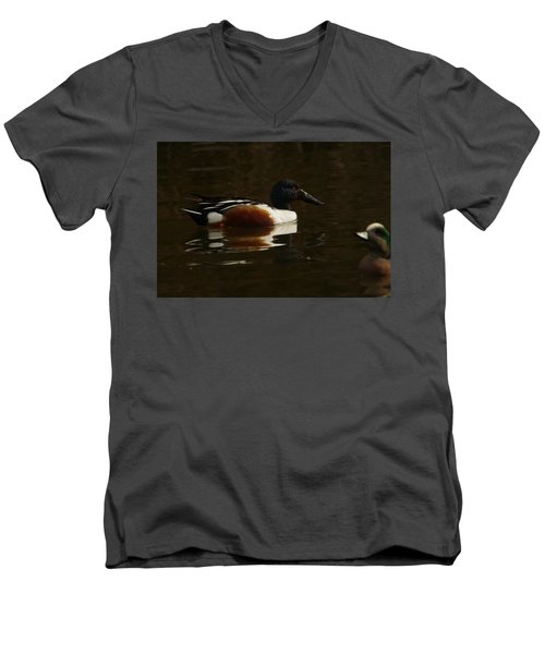 Men's V-Neck T-Shirt featuring the photograph Shovel Tail And A Wigeon by Jeff Swan