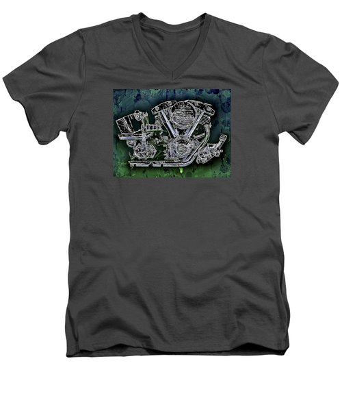 Harley - Davidson Shovelhead Engine Men's V-Neck T-Shirt