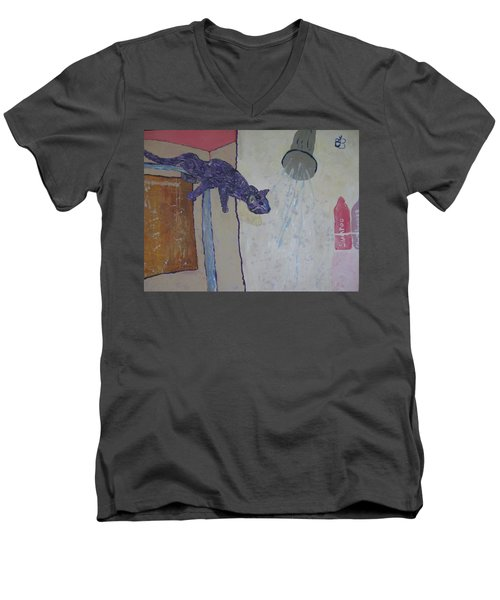 Shower Cat Men's V-Neck T-Shirt by AJ Brown