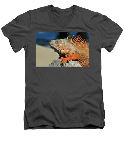 Men's V-Neck T-Shirt featuring the photograph Showing My Spikes by Pamela Blizzard