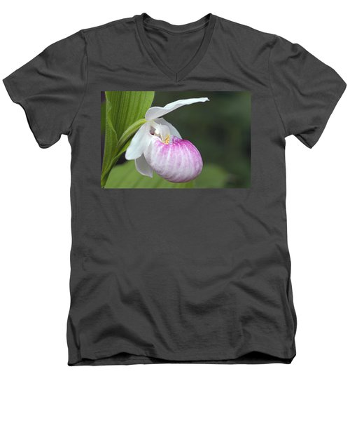 Showy Ladyslipper Men's V-Neck T-Shirt by Larry Ricker
