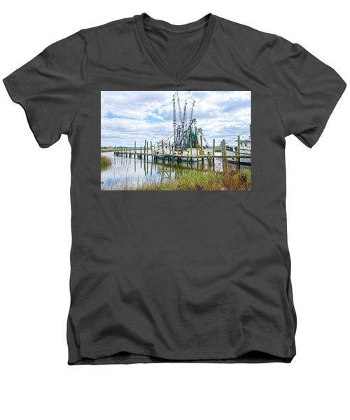 Shrimp Boats Of St. Helena Island Men's V-Neck T-Shirt