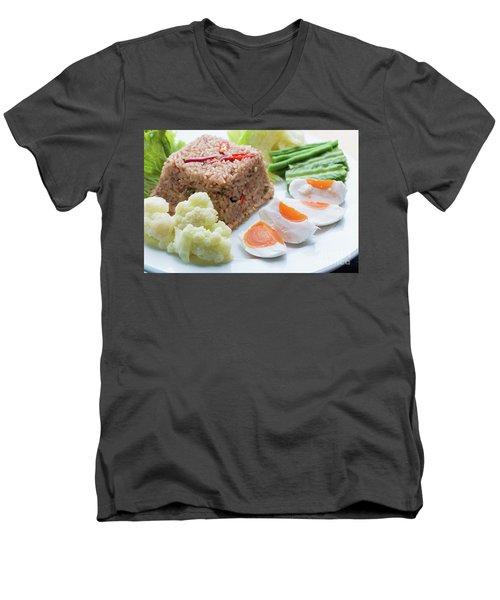Men's V-Neck T-Shirt featuring the photograph Shrimp Paste Fried Rice by Atiketta Sangasaeng