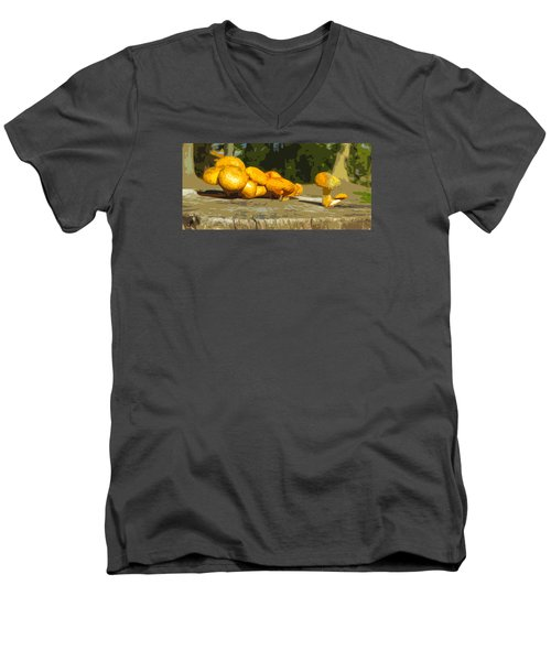 Men's V-Neck T-Shirt featuring the photograph Shrooms On A Stump by Spyder Webb