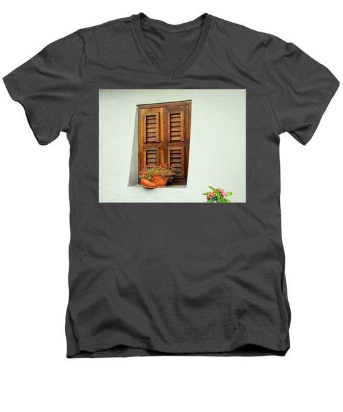 Men's V-Neck T-Shirt featuring the photograph Shuttered Window, Island Of Curacao by Kurt Van Wagner