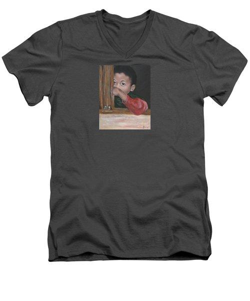 Men's V-Neck T-Shirt featuring the painting Shy by Annemeet Hasidi- van der Leij