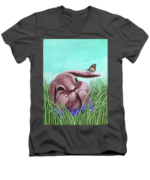 Shy Bunny - Original Painting Men's V-Neck T-Shirt