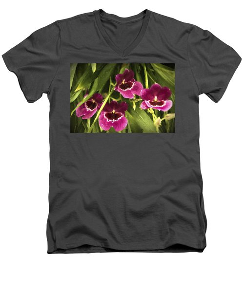 Shy, Confident, Tentative And Awkward Orchids Men's V-Neck T-Shirt by Penny Lisowski