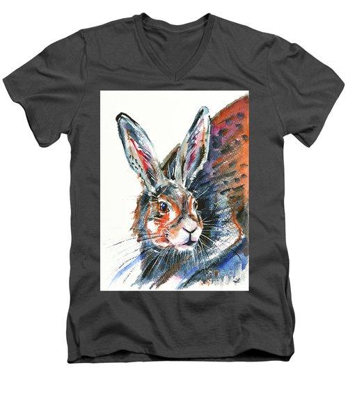 Men's V-Neck T-Shirt featuring the painting Shy Hare by Zaira Dzhaubaeva