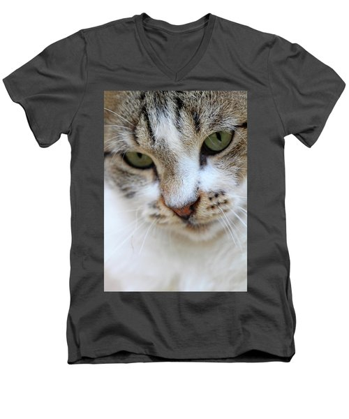 Men's V-Neck T-Shirt featuring the photograph Shyness by Munir Alawi