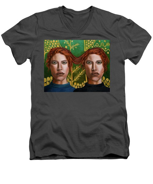 Men's V-Neck T-Shirt featuring the painting Siamese Twins 5 by Leah Saulnier The Painting Maniac