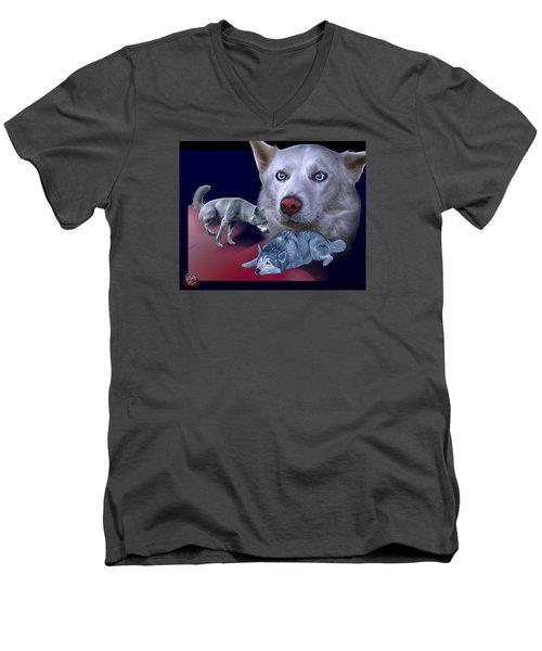 Siberian Husky - Modern Dog Art - 0002 Men's V-Neck T-Shirt