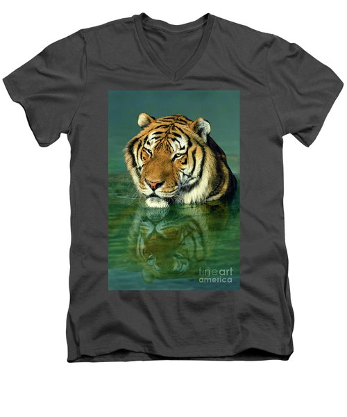 Siberian Tiger Reflection Wildlife Rescue Men's V-Neck T-Shirt by Dave Welling