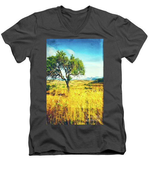 Men's V-Neck T-Shirt featuring the photograph Sicilian Landscape With Tree by Silvia Ganora