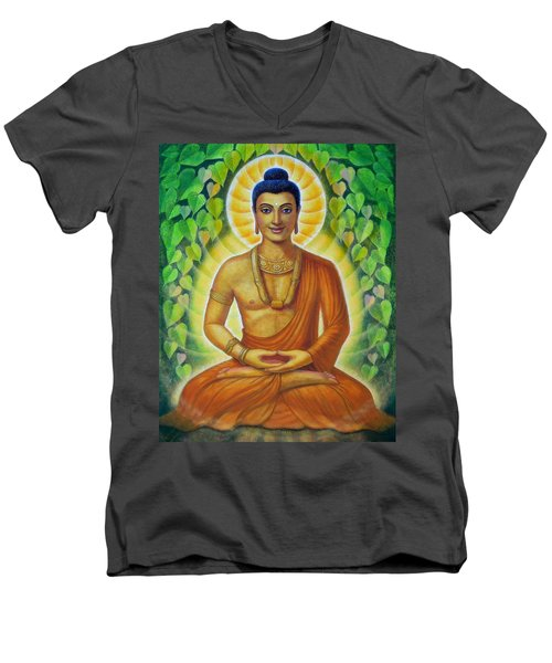 Men's V-Neck T-Shirt featuring the painting Siddhartha by Sue Halstenberg