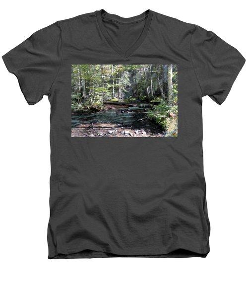 Men's V-Neck T-Shirt featuring the digital art Side Brook by John Selmer Sr
