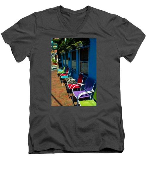 Sidewalk Cafe Men's V-Neck T-Shirt