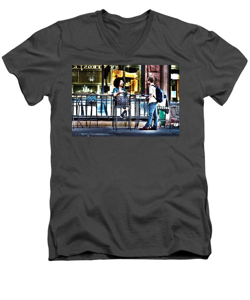 048 - Sidewalk Cafe Men's V-Neck T-Shirt