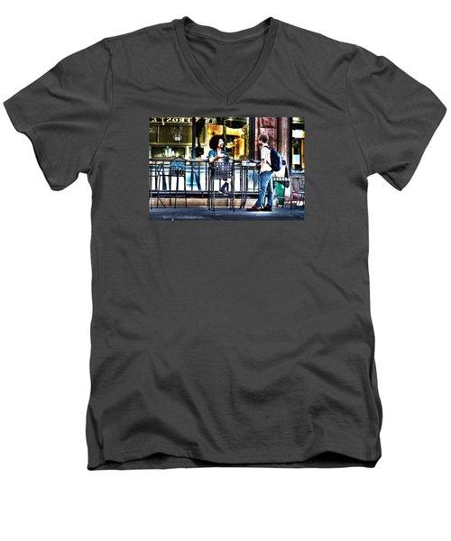 048 - Sidewalk Cafe Men's V-Neck T-Shirt