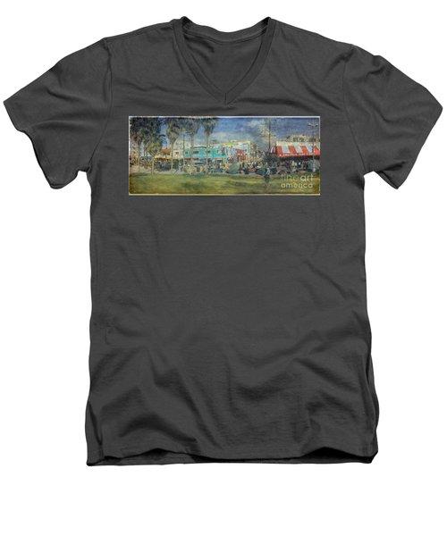 Men's V-Neck T-Shirt featuring the photograph Sidewalk Cafe Venice Ca Panorama  by David Zanzinger