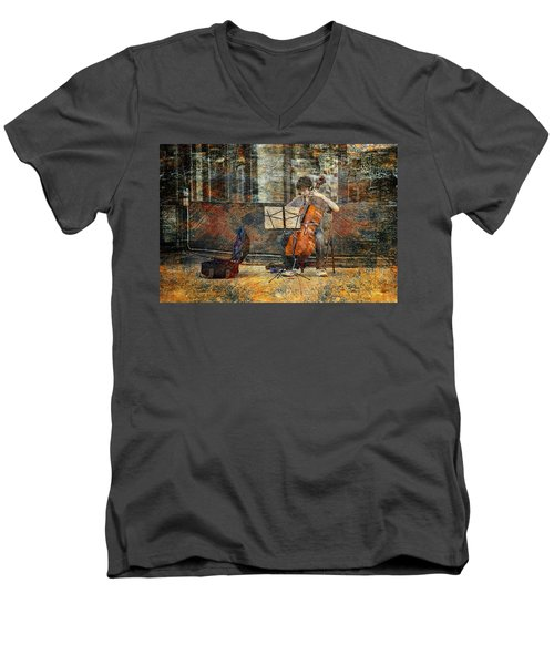 Sidewalk Cellist Men's V-Neck T-Shirt