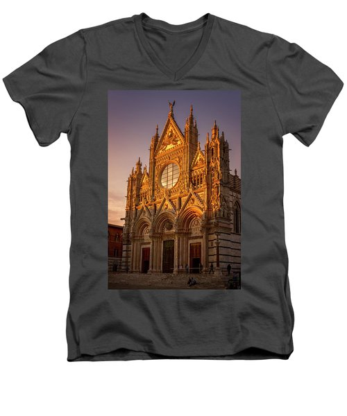 Men's V-Neck T-Shirt featuring the photograph Siena Italy Cathedral Sunset by Joan Carroll