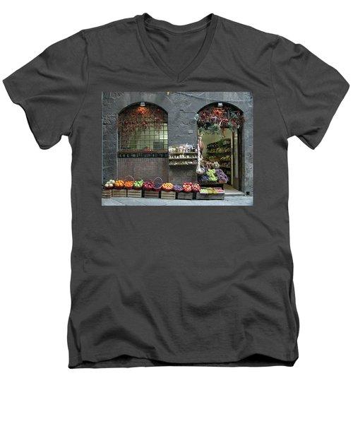 Men's V-Neck T-Shirt featuring the photograph Siena Italy Fruit Shop by Mark Czerniec