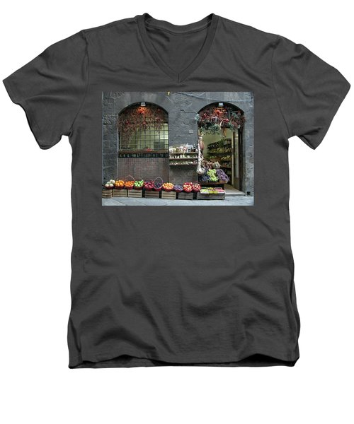 Men's V-Neck T-Shirt featuring the photograph Siena Italy Fruit Shop by Mark Czerniec
