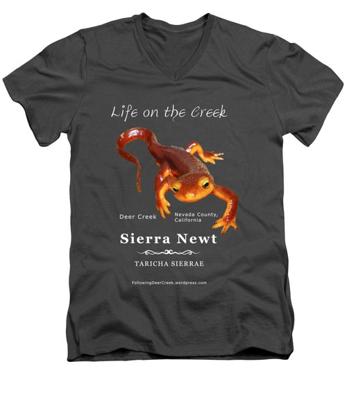 Sierra Newt - Color Newt - White Text Men's V-Neck T-Shirt by Lisa Redfern