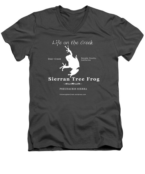 Sierran Tree Frog - White Graphic, White Text Men's V-Neck T-Shirt