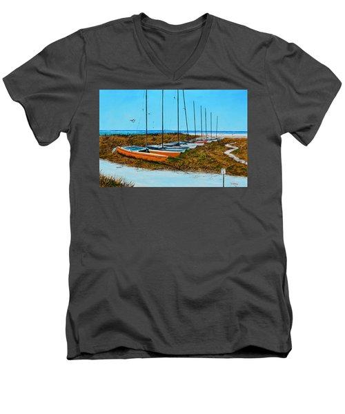 Siesta Key Access #8 Catamarans Men's V-Neck T-Shirt by Lloyd Dobson