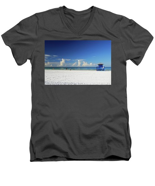 Men's V-Neck T-Shirt featuring the photograph Siesta Key Life Guard Shack by Gary Wonning