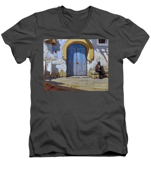 Men's V-Neck T-Shirt featuring the painting Siesta Time In Naples by Rosario Piazza