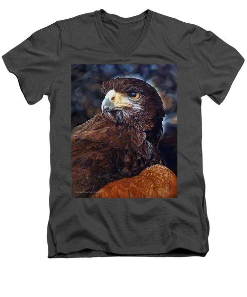 Sig The Harris Hawk Men's V-Neck T-Shirt by Linda Becker