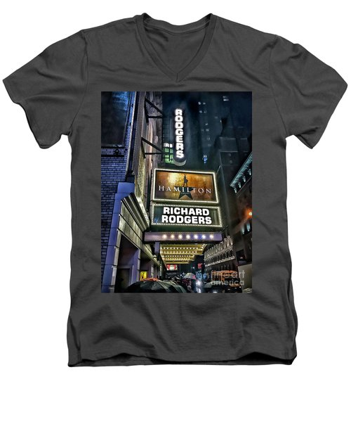 Men's V-Neck T-Shirt featuring the photograph Sights In New York City - Hamilton Marquis by Walt Foegelle