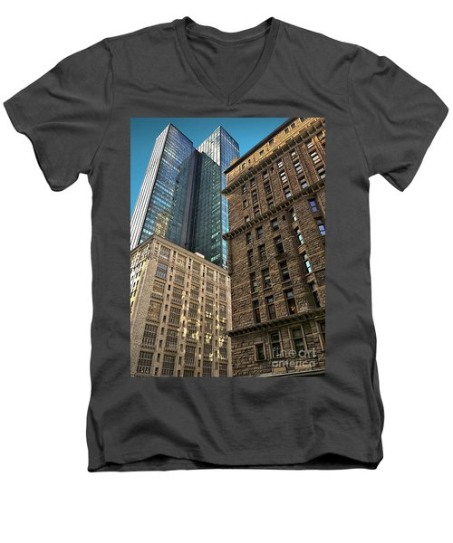 Men's V-Neck T-Shirt featuring the photograph Sights In New York City - Old And New 2 by Walt Foegelle