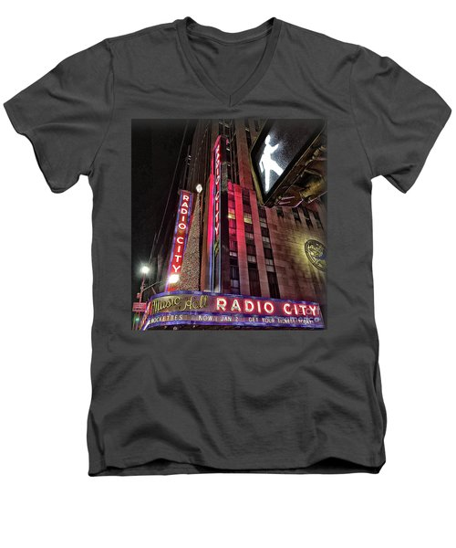 Men's V-Neck T-Shirt featuring the photograph Sights In New York City - Radio City by Walt Foegelle