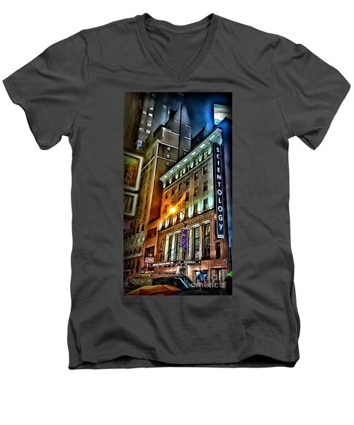 Men's V-Neck T-Shirt featuring the photograph Sights In New York City - Scientology by Walt Foegelle