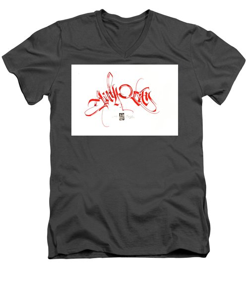 Significance. Calligraphic Abstract Men's V-Neck T-Shirt