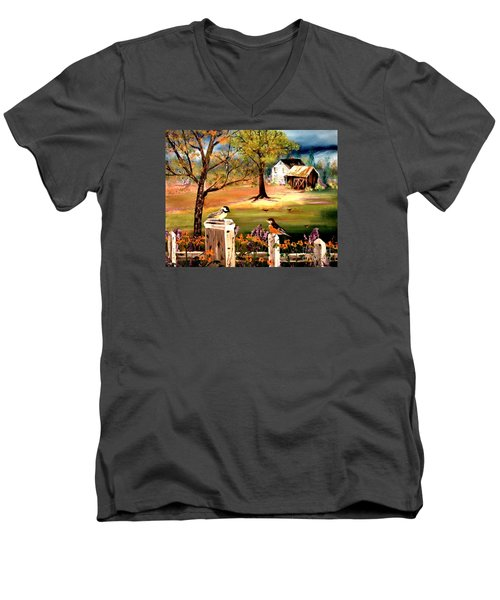 Men's V-Neck T-Shirt featuring the painting Signs Of Spring by Denise Tomasura