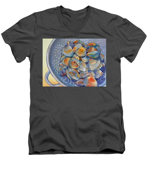 Silence Of The Clams Men's V-Neck T-Shirt by Judy Mercer
