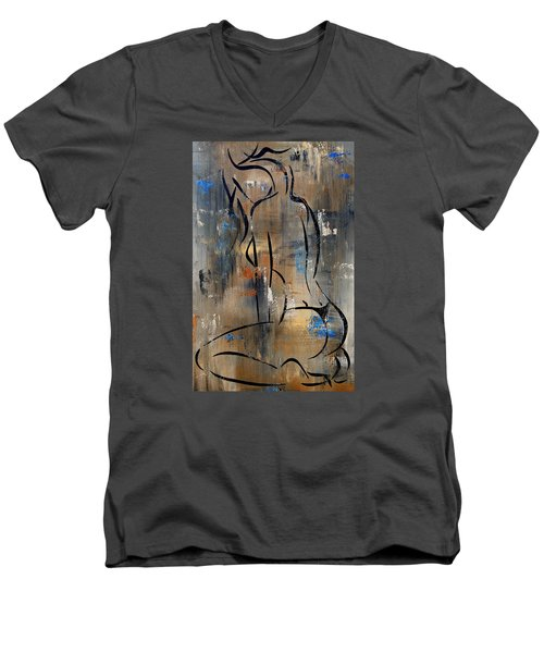 Silent Men's V-Neck T-Shirt by Tom Fedro - Fidostudio