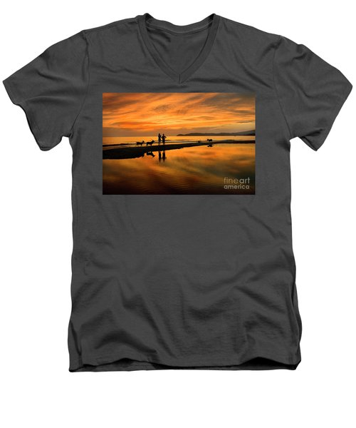 Silhouette And Amazing Sunset In Thassos Men's V-Neck T-Shirt