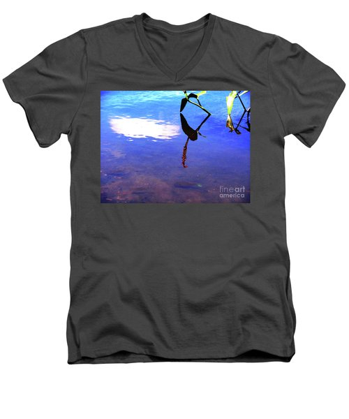 Men's V-Neck T-Shirt featuring the photograph Silhouette Aquatic Fish by Rockin Docks Deluxephotos