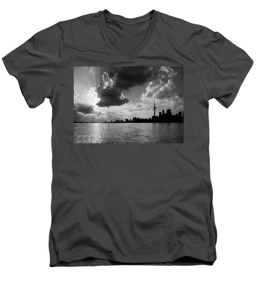 Silhouette Cn Tower Men's V-Neck T-Shirt by Nick Mares