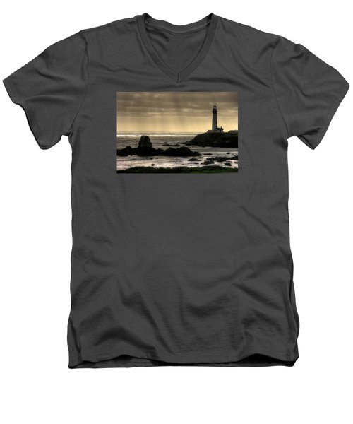 Silhouette Sentinel - Pigeon Point Lighthouse - Central California Coast Spring Men's V-Neck T-Shirt by Michael Mazaika