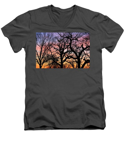 Men's V-Neck T-Shirt featuring the photograph Silhouettes At Sunset by Chris Berry