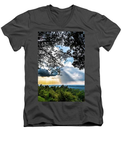 Men's V-Neck T-Shirt featuring the photograph Silhouettes At The Overlook by Shelby Young