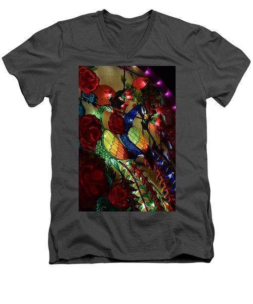 Silk Peacocks Men's V-Neck T-Shirt