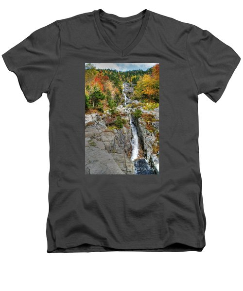Silver Cascade Waterfall Men's V-Neck T-Shirt